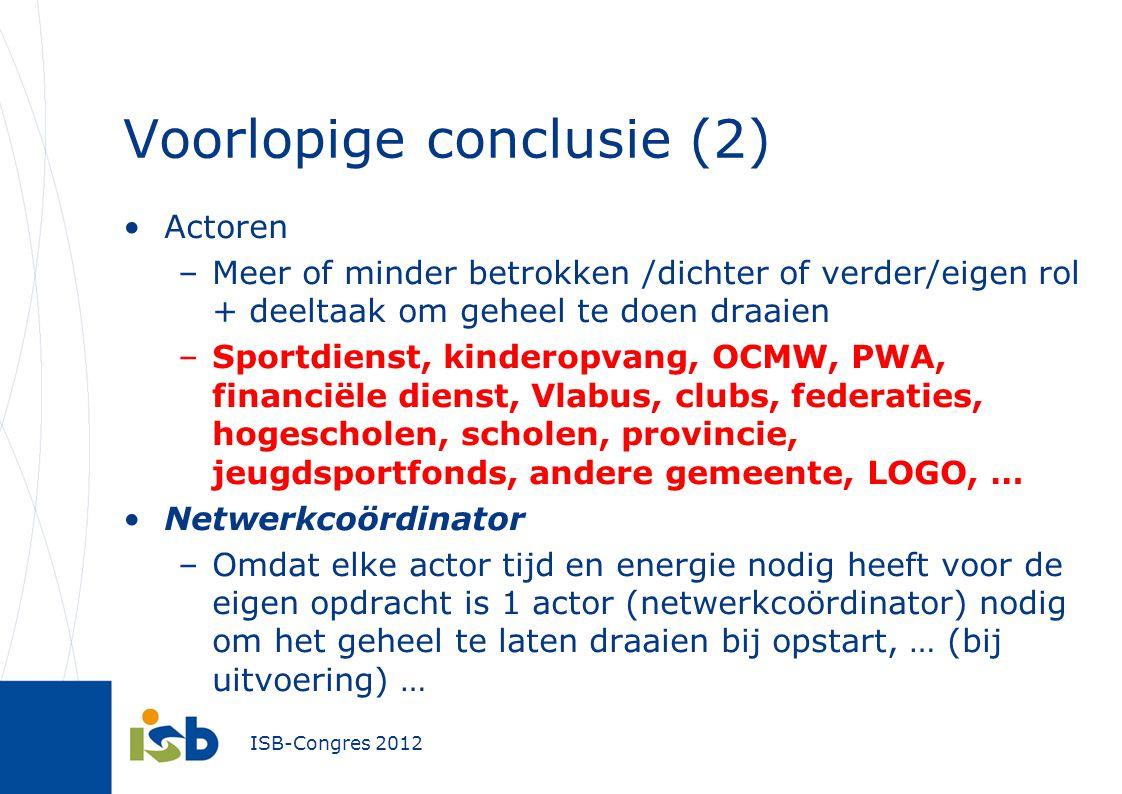 ISB-Congres 2012 Voorlopige conclusie (2) Actoren –Meer of minder betrokken /dichter of verder/eigen rol + deeltaak om geheel te doen draaien –Sportdi