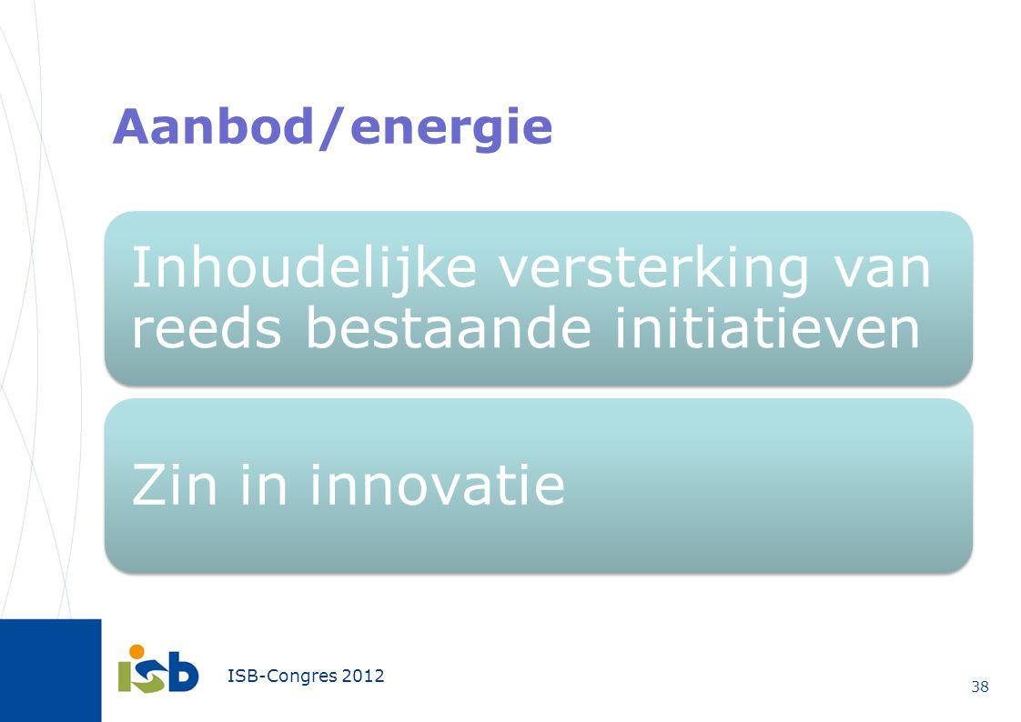 ISB-Congres 2012 Aanbod/energie 38 Inhoudelijke versterking van reeds bestaande initiatieven Zin in innovatie