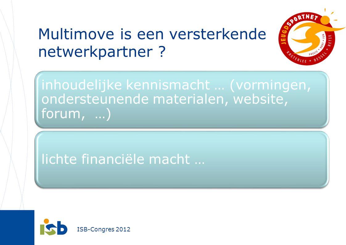 ISB-Congres 2012 inhoudelijke kennismacht … (vormingen, ondersteunende materialen, website, forum, …) lichte financiële macht … Multimove is een versterkende netwerkpartner ?
