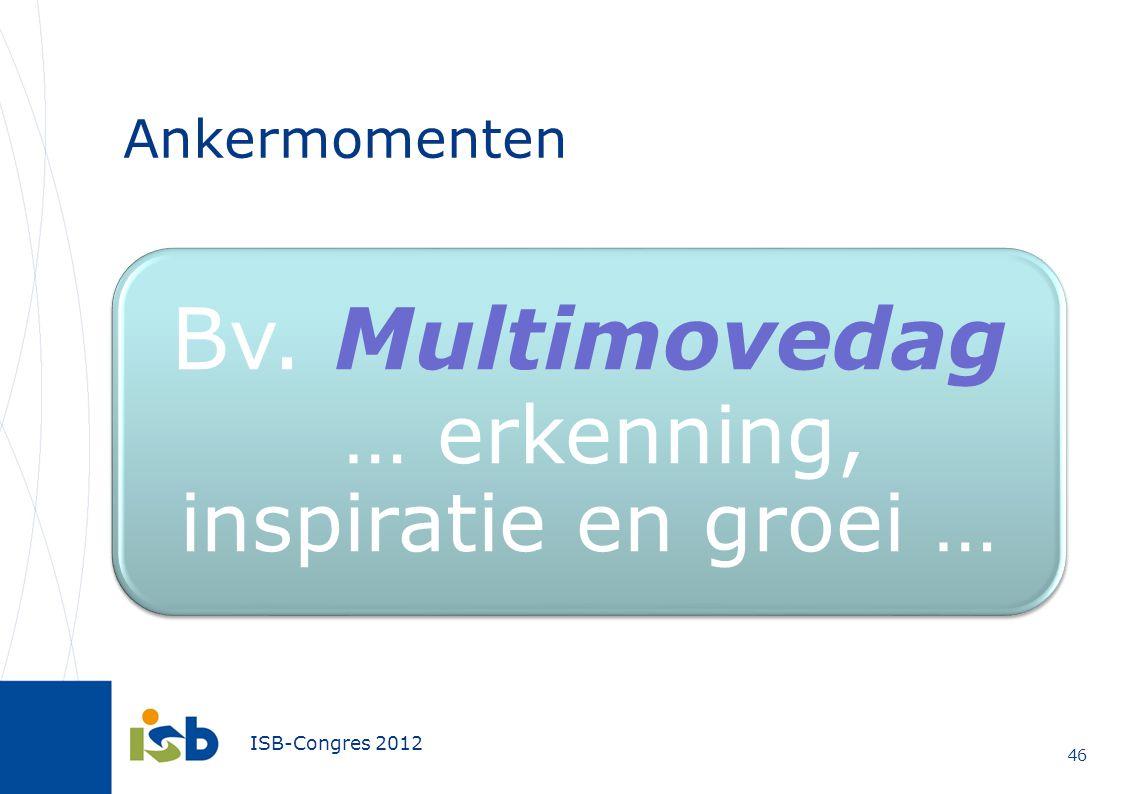 ISB-Congres 2012 Ankermomenten 46 Bv. Multimovedag … erkenning, inspiratie en groei …