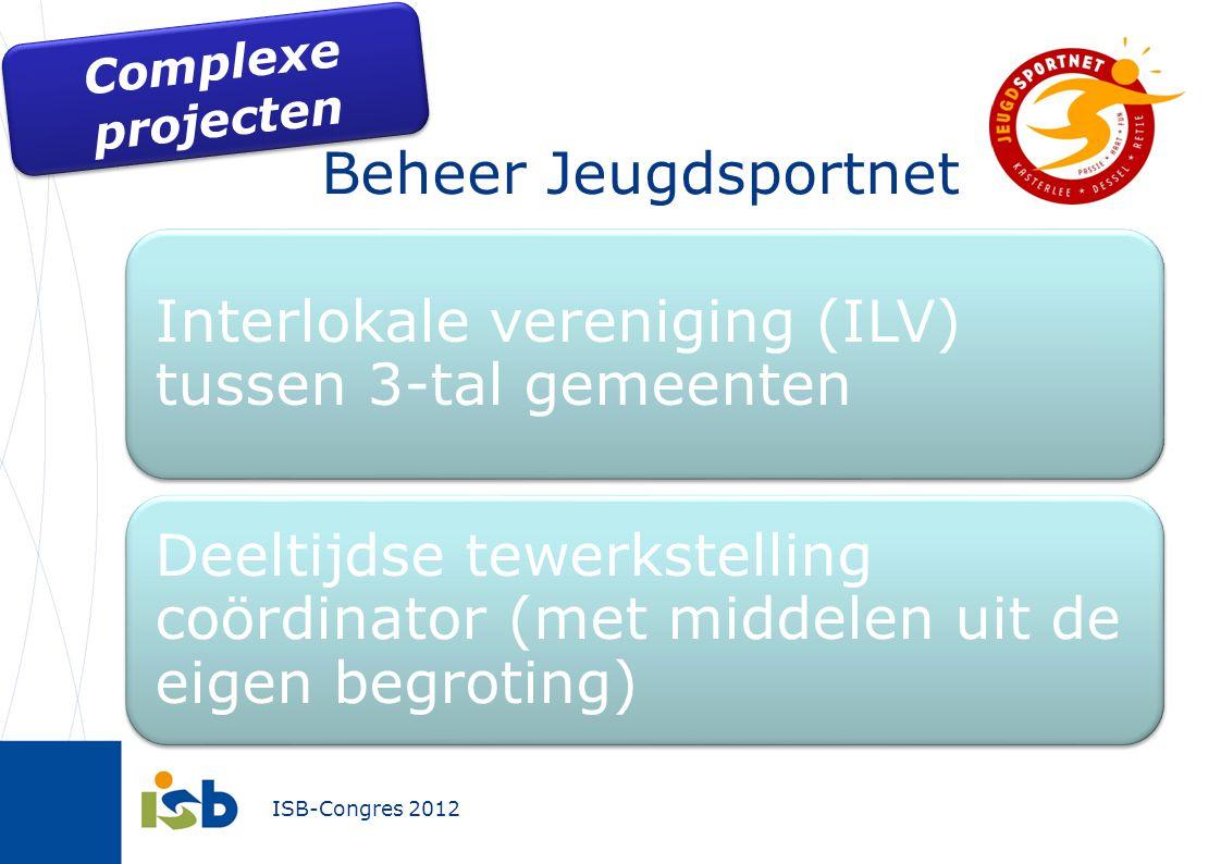 ISB-Congres 2012 Beheer Jeugdsportnet Interlokale vereniging (ILV) tussen 3-tal gemeenten Deeltijdse tewerkstelling coördinator (met middelen uit de e