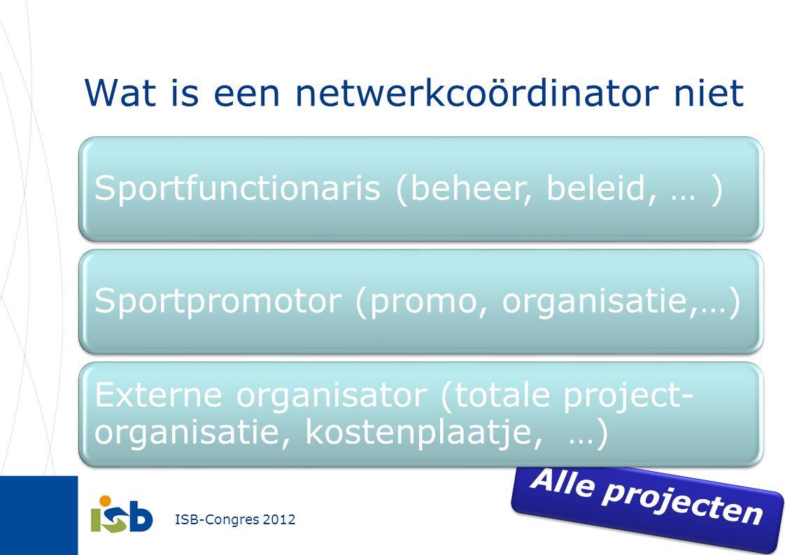 ISB-Congres 2012 Wat is een netwerkcoördinator niet Alle projecten Sportfunctionaris (beheer, beleid, … )Sportpromotor (promo, organisatie,…) Externe organisator (totale project- organisatie, kostenplaatje, …)