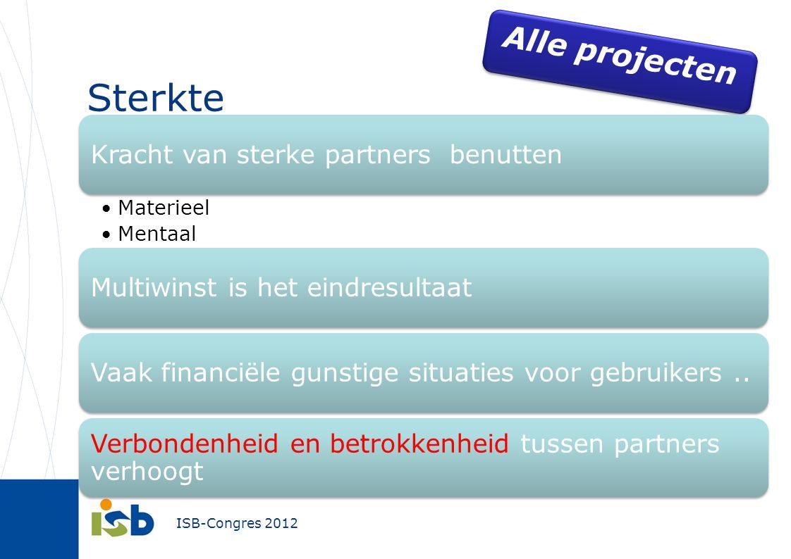 ISB-Congres 2012 Sterkte Alle projecten Kracht van sterke partners benutten Materieel Mentaal Multiwinst is het eindresultaatVaak financiële gunstige situaties voor gebruikers..