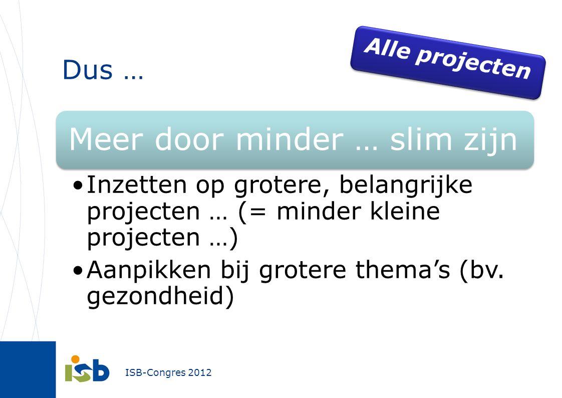 ISB-Congres 2012 Dus … Meer door minder … slim zijn Inzetten op grotere, belangrijke projecten … (= minder kleine projecten …) Aanpikken bij grotere thema's (bv.