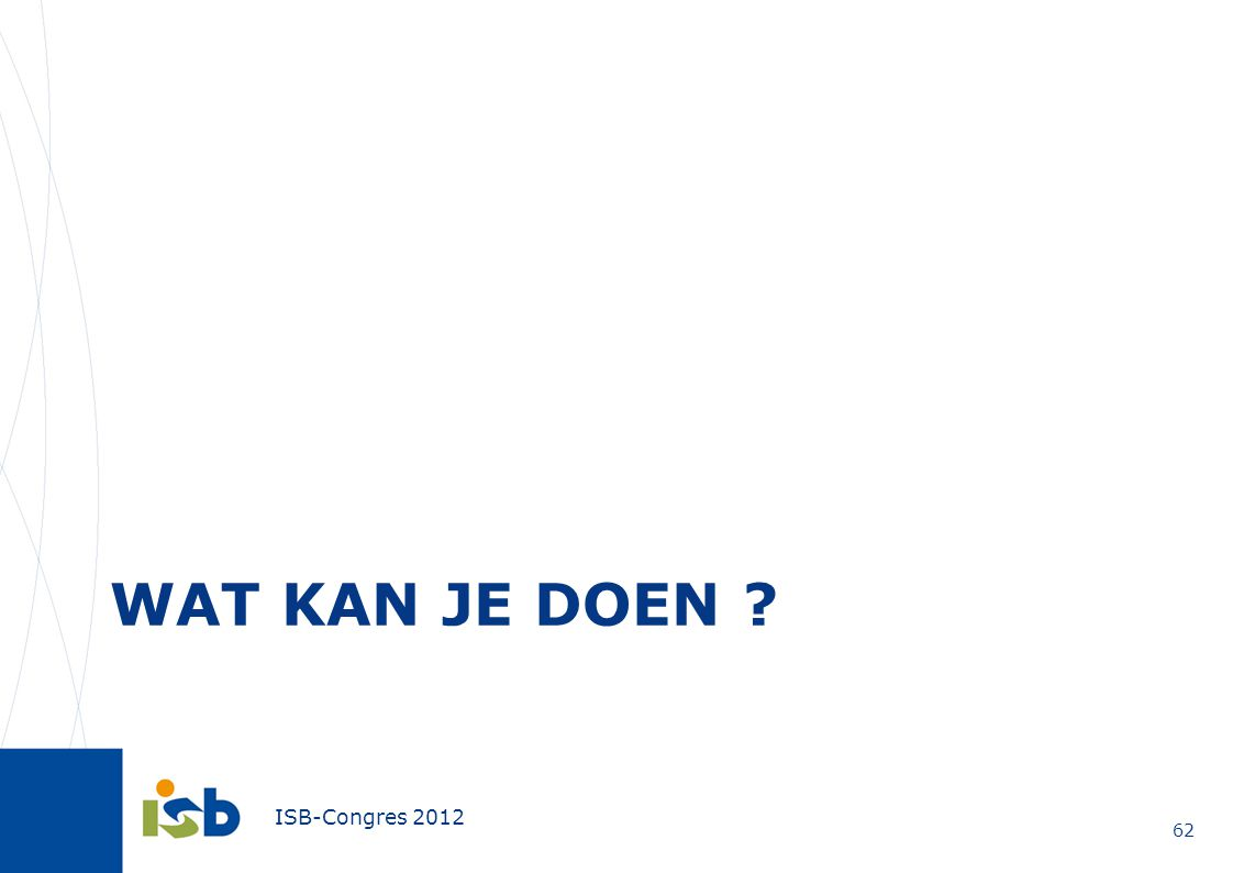 ISB-Congres 2012 WAT KAN JE DOEN ? 62