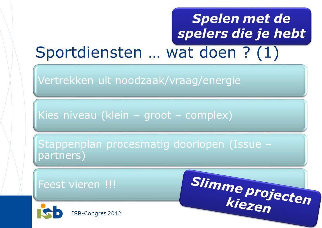 ISB-Congres 2012 Vertrekken uit noodzaak/vraag/energieKies niveau (klein – groot – complex) Stappenplan procesmatig doorlopen (Issue – partners) Feest vieren !!.