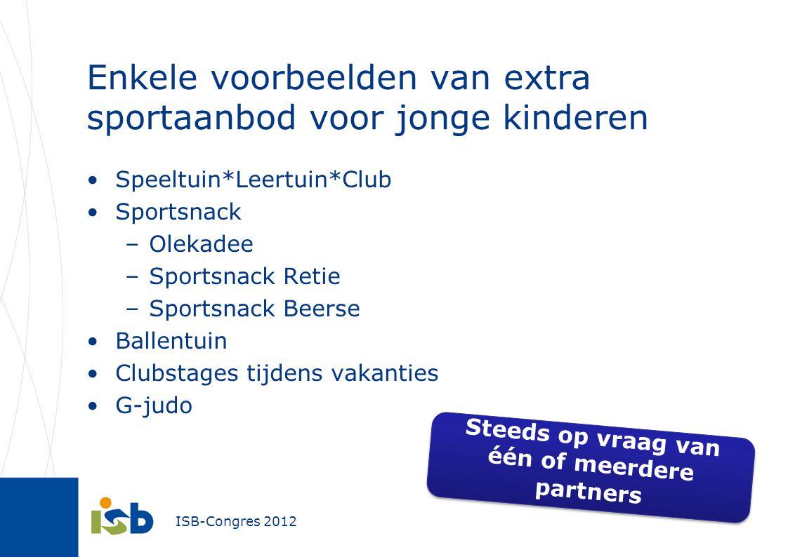 Enkele voorbeelden van extra sportaanbod voor jonge kinderen Speeltuin*Leertuin*Club Sportsnack –Olekadee –Sportsnack Retie –Sportsnack Beerse Ballent