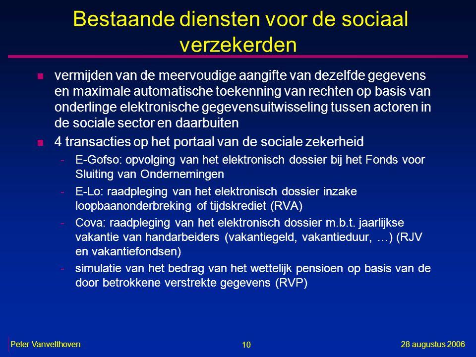 10 28 augustus 2006Peter Vanvelthoven Bestaande diensten voor de sociaal verzekerden n vermijden van de meervoudige aangifte van dezelfde gegevens en