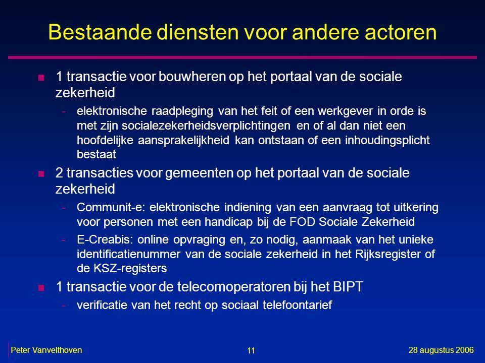 11 28 augustus 2006Peter Vanvelthoven Bestaande diensten voor andere actoren n 1 transactie voor bouwheren op het portaal van de sociale zekerheid -el