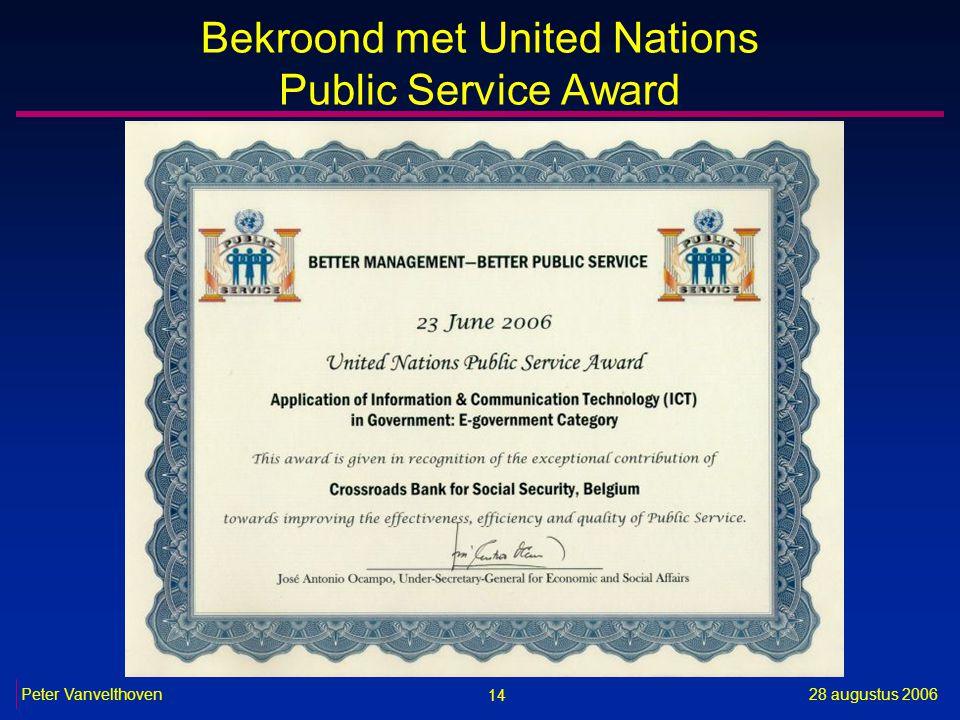 14 28 augustus 2006Peter Vanvelthoven Bekroond met United Nations Public Service Award