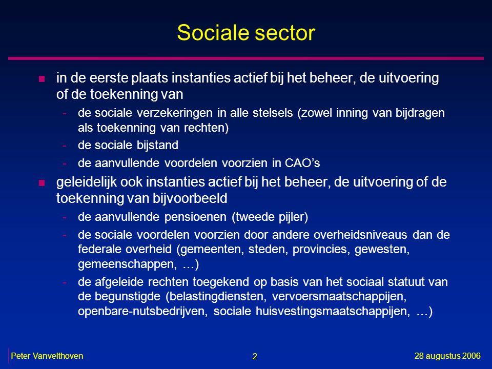 2 28 augustus 2006Peter Vanvelthoven Sociale sector n in de eerste plaats instanties actief bij het beheer, de uitvoering of de toekenning van -de soc