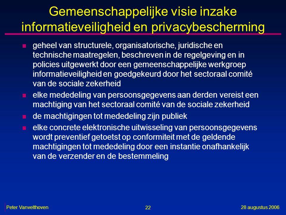 22 28 augustus 2006Peter Vanvelthoven Gemeenschappelijke visie inzake informatieveiligheid en privacybescherming n geheel van structurele, organisator