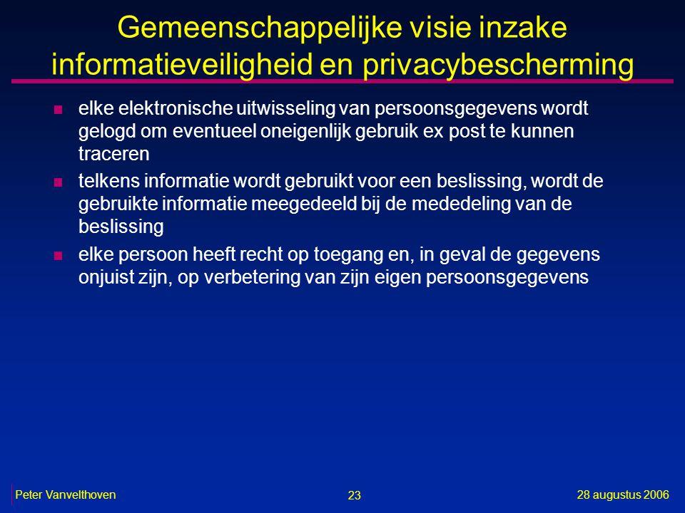 23 28 augustus 2006Peter Vanvelthoven Gemeenschappelijke visie inzake informatieveiligheid en privacybescherming n elke elektronische uitwisseling van