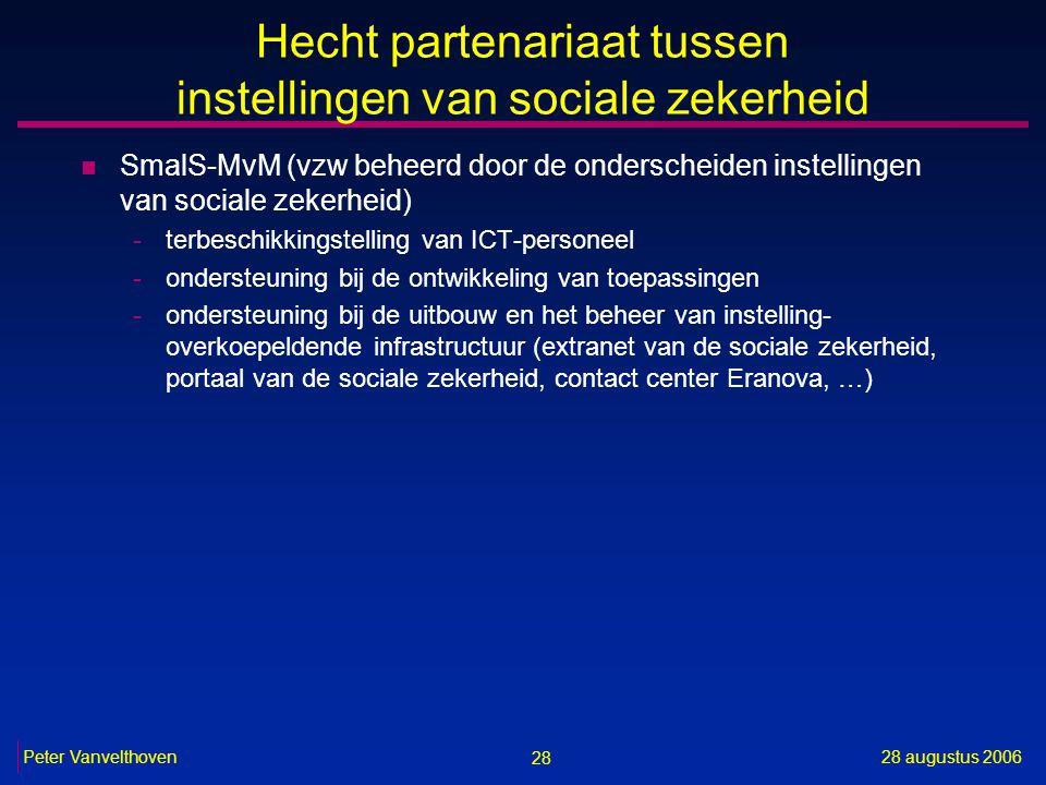 28 28 augustus 2006Peter Vanvelthoven Hecht partenariaat tussen instellingen van sociale zekerheid n SmalS-MvM (vzw beheerd door de onderscheiden inst