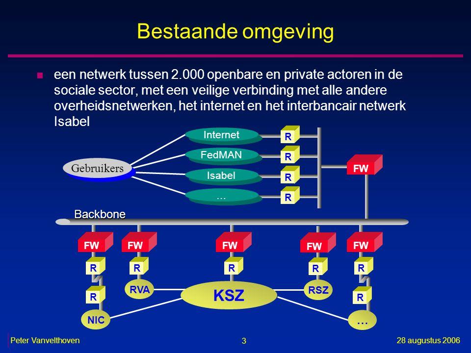 3 28 augustus 2006Peter Vanvelthoven Bestaande omgeving n een netwerk tussen 2.000 openbare en private actoren in de sociale sector, met een veilige verbinding met alle andere overheidsnetwerken, het internet en het interbancair netwerk Isabel R FW R RVA Gebruikers FW RR R Internet R FedMAN R Isabel … … FW R R NIC Backbone R … RSZ FW R KSZ