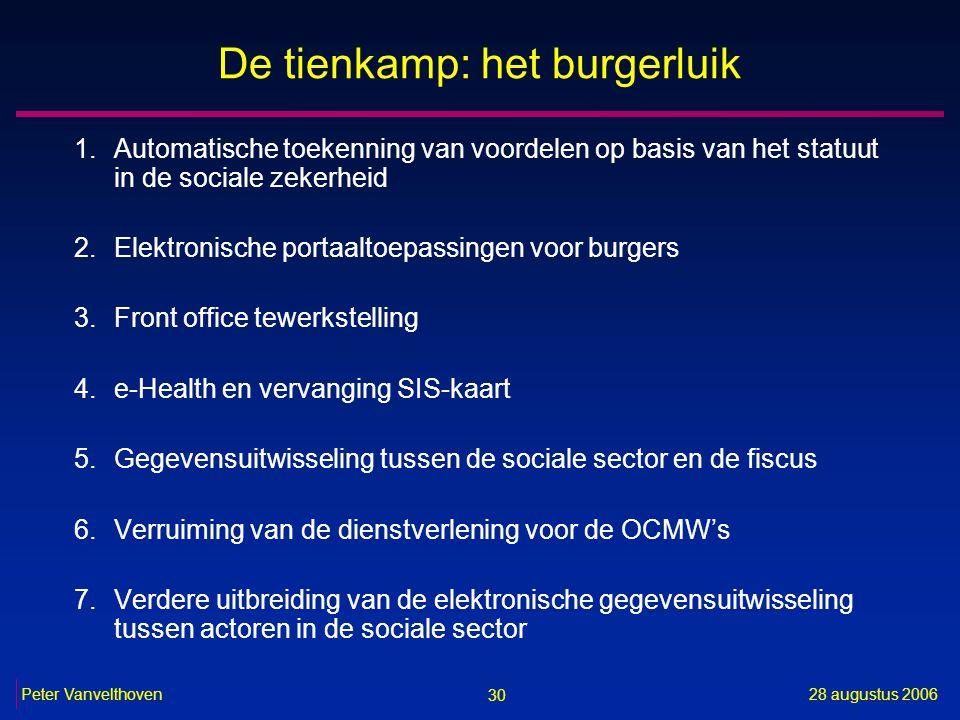 30 28 augustus 2006Peter Vanvelthoven De tienkamp: het burgerluik 1.Automatische toekenning van voordelen op basis van het statuut in de sociale zeker