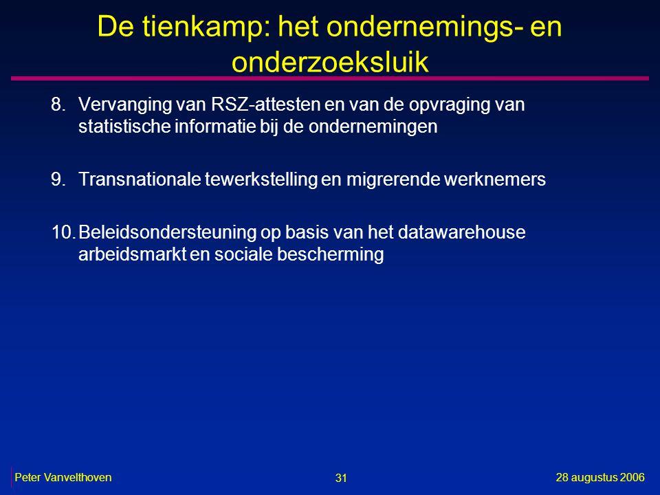 31 28 augustus 2006Peter Vanvelthoven De tienkamp: het ondernemings- en onderzoeksluik 8.Vervanging van RSZ-attesten en van de opvraging van statistische informatie bij de ondernemingen 9.Transnationale tewerkstelling en migrerende werknemers 10.Beleidsondersteuning op basis van het datawarehouse arbeidsmarkt en sociale bescherming
