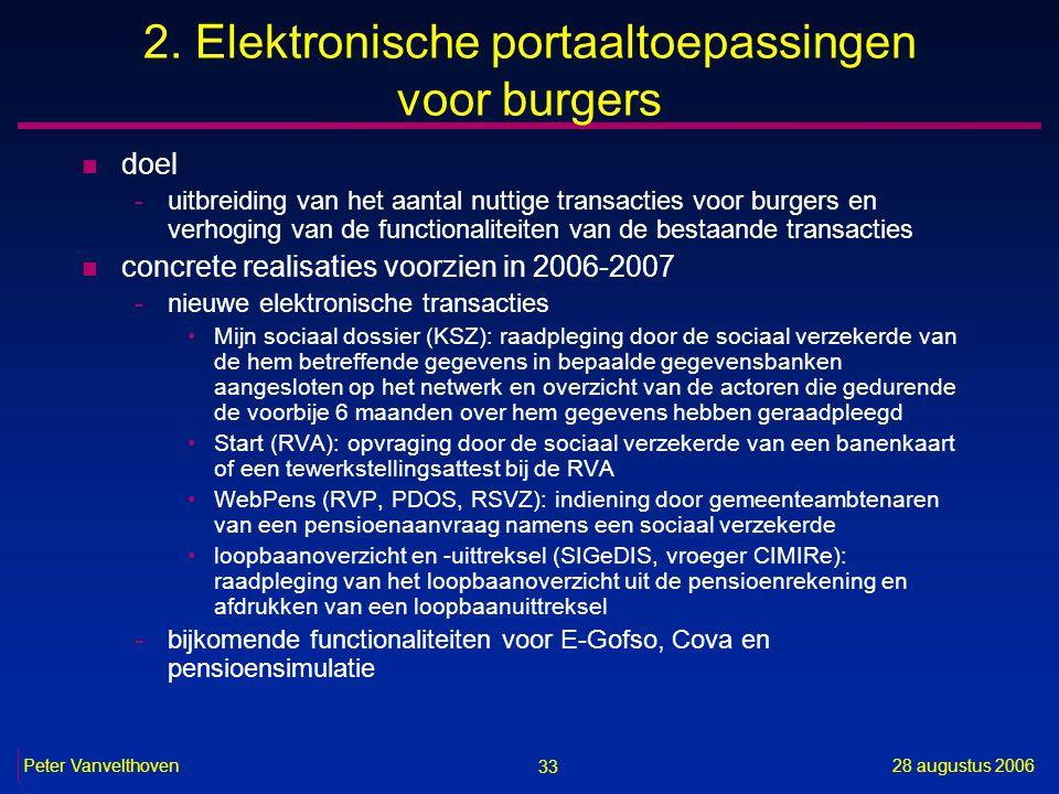 33 28 augustus 2006Peter Vanvelthoven 2. Elektronische portaaltoepassingen voor burgers n doel -uitbreiding van het aantal nuttige transacties voor bu