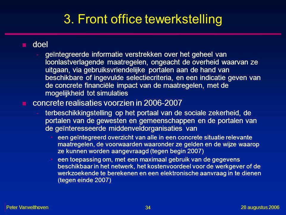34 28 augustus 2006Peter Vanvelthoven 3. Front office tewerkstelling n doel -geïntegreerde informatie verstrekken over het geheel van loonlastverlagen