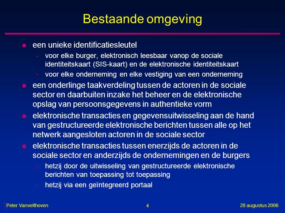 4 28 augustus 2006Peter Vanvelthoven Bestaande omgeving n een unieke identificatiesleutel -voor elke burger, elektronisch leesbaar vanop de sociale id