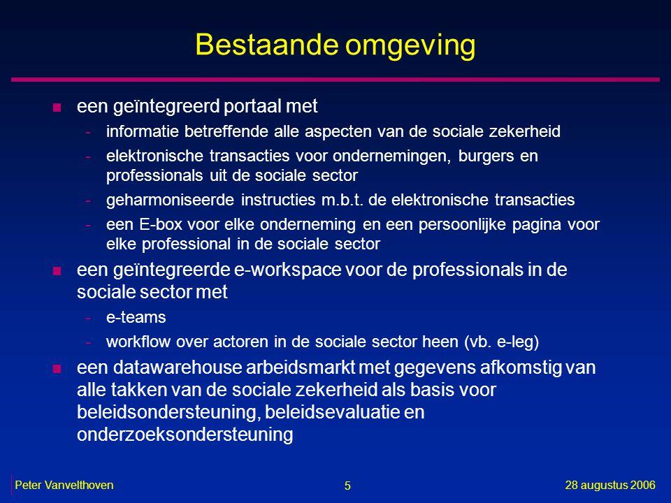 5 28 augustus 2006Peter Vanvelthoven Bestaande omgeving n een geïntegreerd portaal met -informatie betreffende alle aspecten van de sociale zekerheid