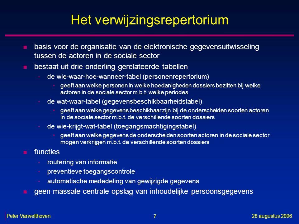 7 28 augustus 2006Peter Vanvelthoven Het verwijzingsrepertorium n basis voor de organisatie van de elektronische gegevensuitwisseling tussen de actore