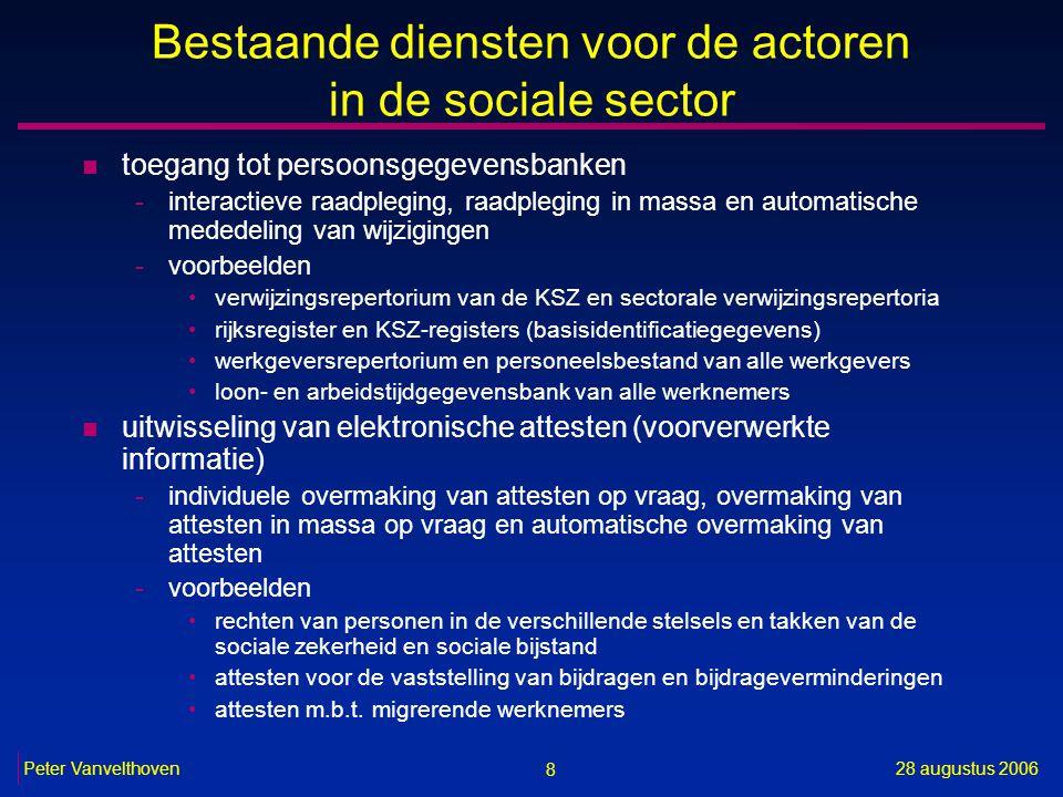 8 28 augustus 2006Peter Vanvelthoven Bestaande diensten voor de actoren in de sociale sector n toegang tot persoonsgegevensbanken -interactieve raadpl