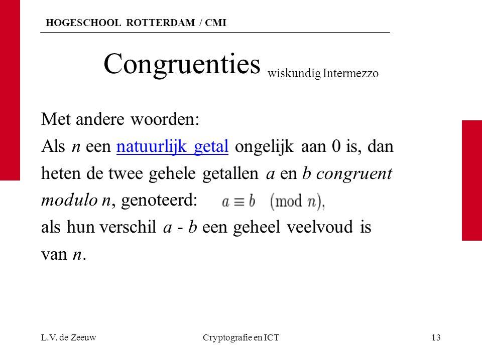 HOGESCHOOL ROTTERDAM / CMI Congruenties wiskundig Intermezzo Met andere woorden: Als n een natuurlijk getal ongelijk aan 0 is, dannatuurlijk getal het