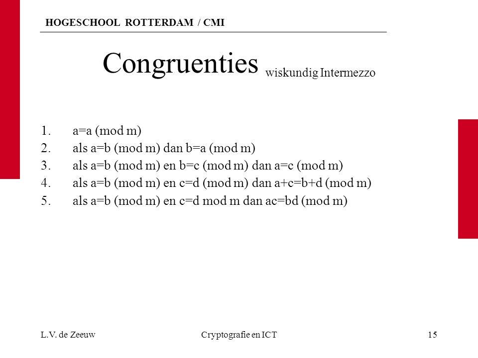 HOGESCHOOL ROTTERDAM / CMI Congruenties wiskundig Intermezzo 1.a=a (mod m) 2.als a=b (mod m) dan b=a (mod m) 3.als a=b (mod m) en b=c (mod m) dan a=c