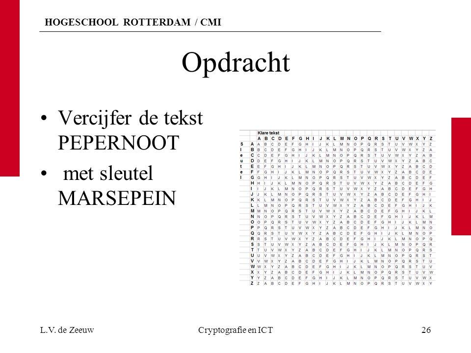 HOGESCHOOL ROTTERDAM / CMI Opdracht Vercijfer de tekst PEPERNOOT met sleutel MARSEPEIN L.V. de ZeeuwCryptografie en ICT26