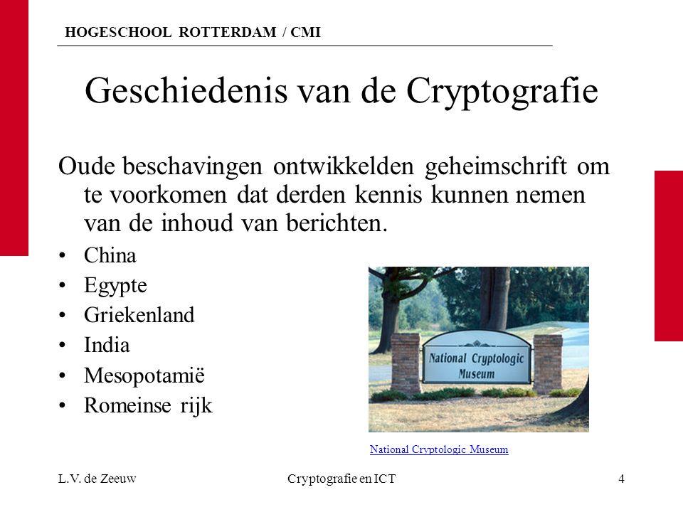HOGESCHOOL ROTTERDAM / CMI Geschiedenis van de Cryptografie Oude beschavingen ontwikkelden geheimschrift om te voorkomen dat derden kennis kunnen neme