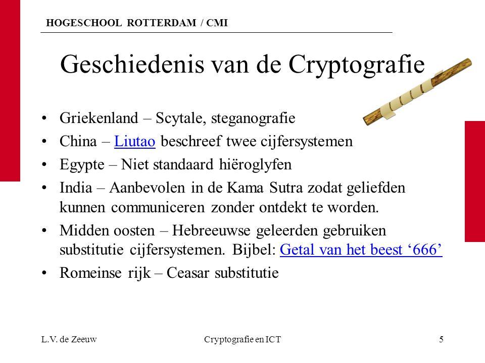 HOGESCHOOL ROTTERDAM / CMI Geschiedenis van de Cryptografie Griekenland – Scytale, steganografie China – Liutao beschreef twee cijfersystemenLiutao Eg