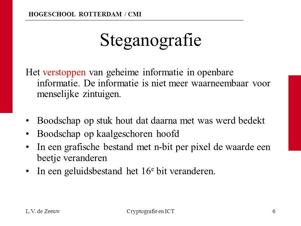 HOGESCHOOL ROTTERDAM / CMI Opdracht Oefen met het programma Steganografie Steganografie Of Steganography Demo L.V.