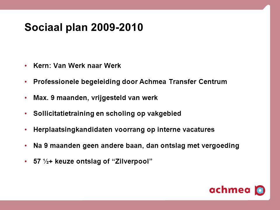 Sociaal plan 2009-2010 Kern: Van Werk naar Werk Professionele begeleiding door Achmea Transfer Centrum Max. 9 maanden, vrijgesteld van werk Sollicitat