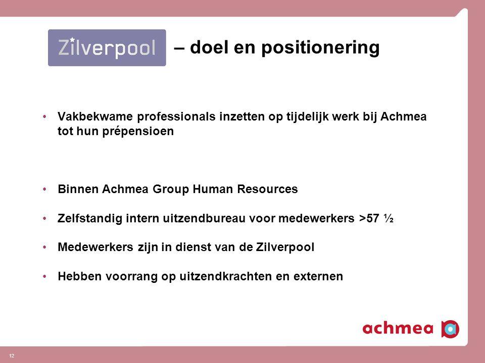 12 – doel en positionering Vakbekwame professionals inzetten op tijdelijk werk bij Achmea tot hun prépensioen Binnen Achmea Group Human Resources Zelf