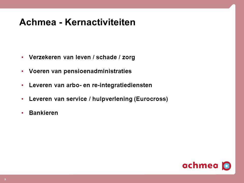5 Achmea - Kernactiviteiten Verzekeren van leven / schade / zorg Voeren van pensioenadministraties Leveren van arbo- en re-integratiediensten Leveren