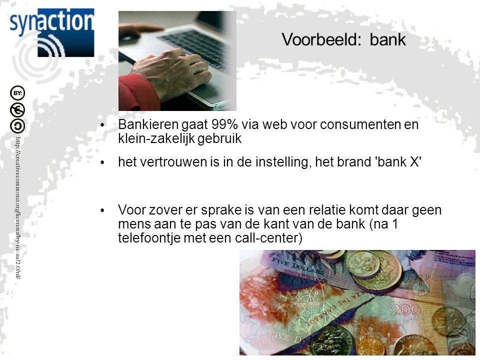 http://creativecommons.org/licenses/by-nc-sa/2.0/nl/ Voorbeeld: bank Bankieren gaat 99% via web voor consumenten en klein-zakelijk gebruik het vertrouwen is in de instelling, het brand bank X Voor zover er sprake is van een relatie komt daar geen mens aan te pas van de kant van de bank (na 1 telefoontje met een call-center)
