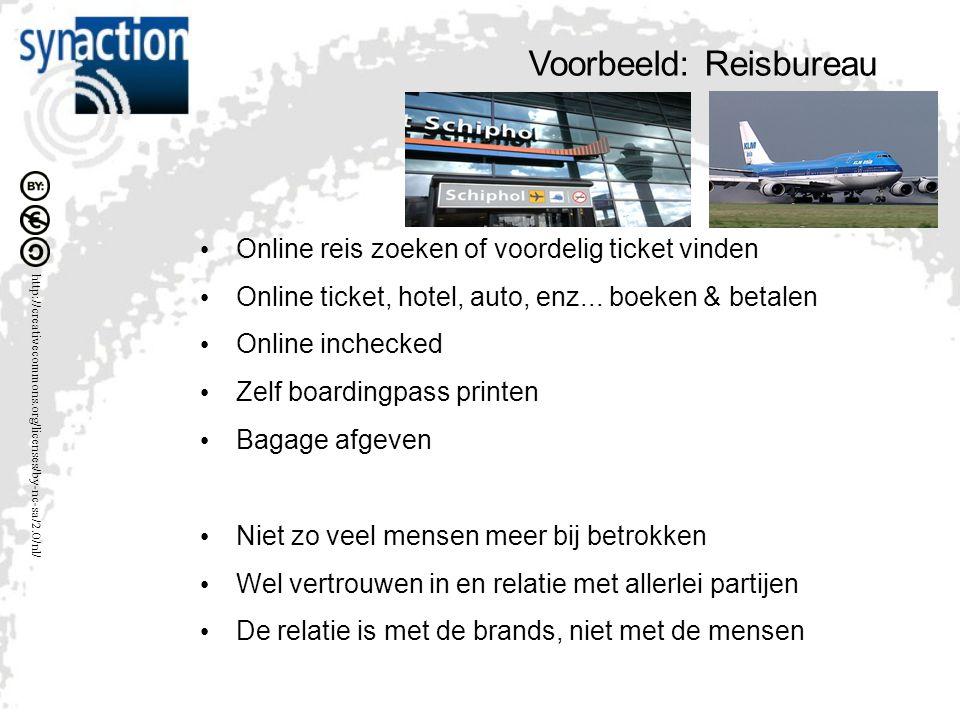 http://creativecommons.org/licenses/by-nc-sa/2.0/nl/ Voorbeeld: Reisbureau Online reis zoeken of voordelig ticket vinden Online ticket, hotel, auto, enz...