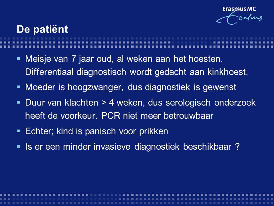 De patiënt  Meisje van 7 jaar oud, al weken aan het hoesten. Differentiaal diagnostisch wordt gedacht aan kinkhoest.  Moeder is hoogzwanger, dus dia