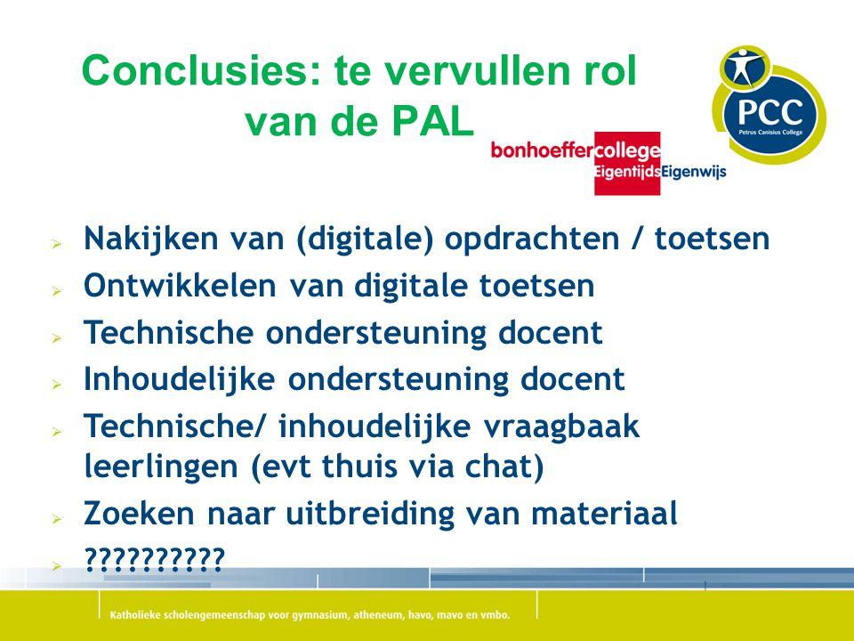 Conclusies: te vervullen rol van de PAL  Nakijken van (digitale) opdrachten / toetsen  Ontwikkelen van digitale toetsen  Technische ondersteuning d