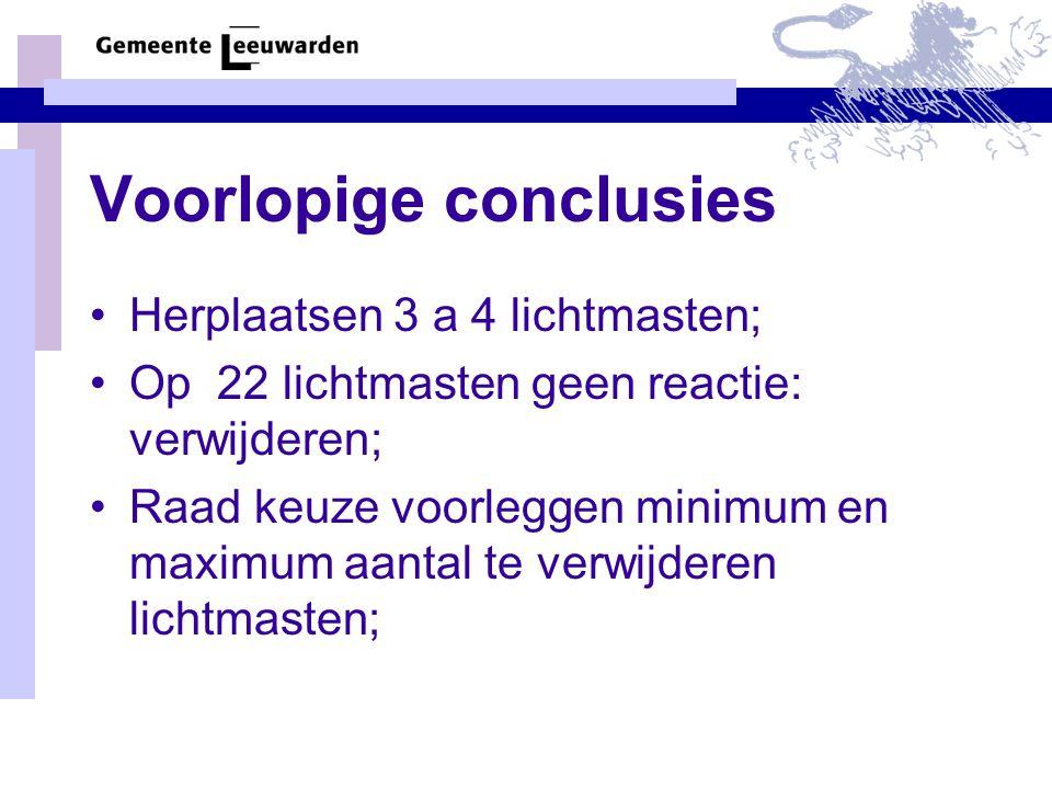 Voorlopige conclusies Herplaatsen 3 a 4 lichtmasten; Op 22 lichtmasten geen reactie: verwijderen; Raad keuze voorleggen minimum en maximum aantal te verwijderen lichtmasten;