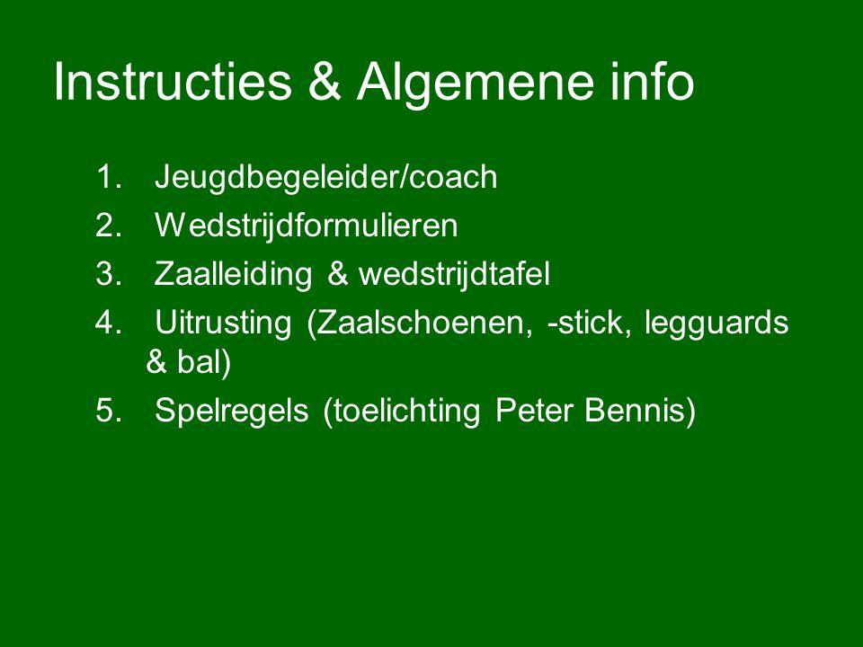 Instructies & Algemene info 1. Jeugdbegeleider/coach 2. Wedstrijdformulieren 3. Zaalleiding & wedstrijdtafel 4. Uitrusting (Zaalschoenen, -stick, legg