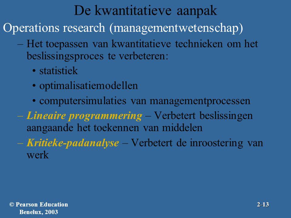 De kwantitatieve aanpak Operations research (managementwetenschap) –Het toepassen van kwantitatieve technieken om het beslissingsproces te verbeteren: