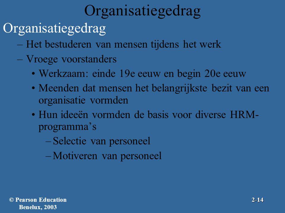 Organisatiegedrag –Het bestuderen van mensen tijdens het werk –Vroege voorstanders Werkzaam: einde 19e eeuw en begin 20e eeuw Meenden dat mensen het b
