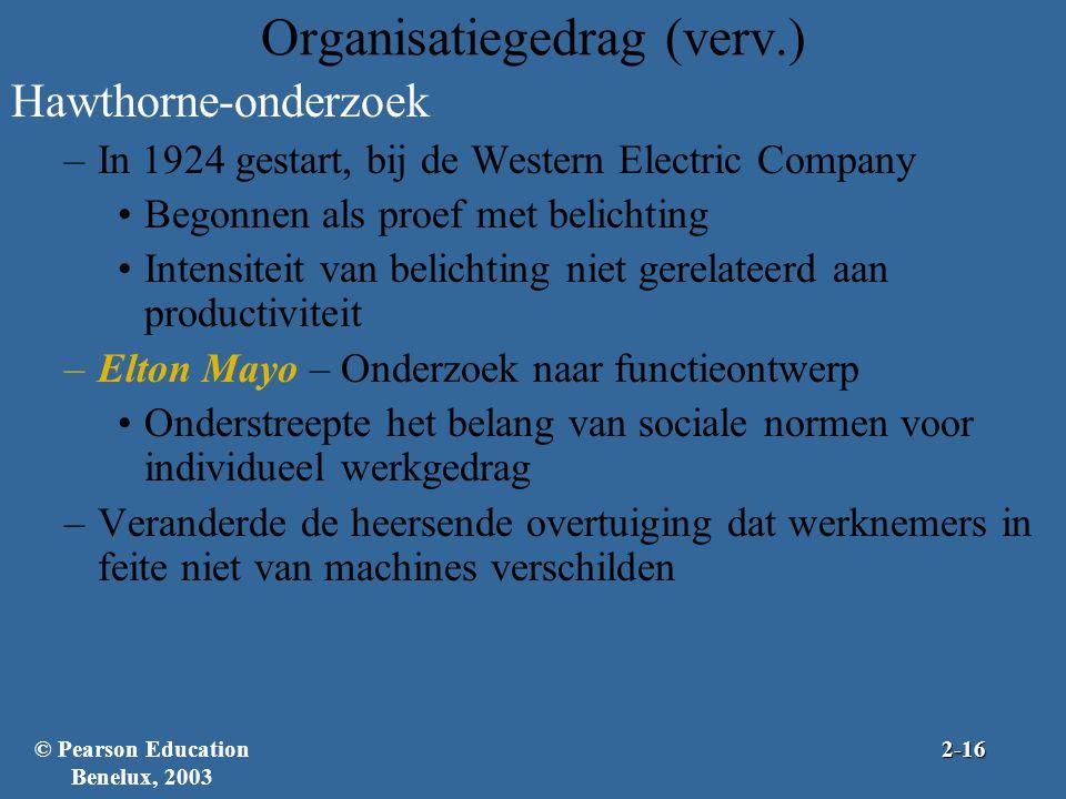 Hawthorne-onderzoek –In 1924 gestart, bij de Western Electric Company Begonnen als proef met belichting Intensiteit van belichting niet gerelateerd aa