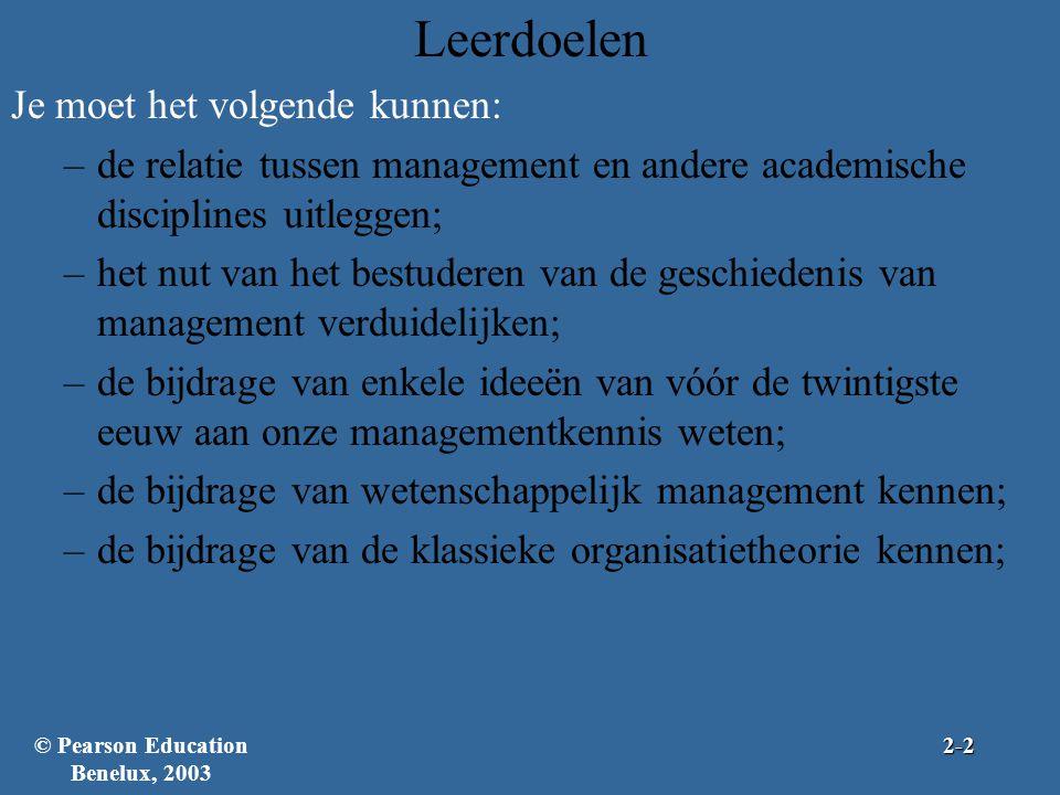 Je moet het volgende kunnen: –de relatie tussen management en andere academische disciplines uitleggen; –het nut van het bestuderen van de geschiedeni