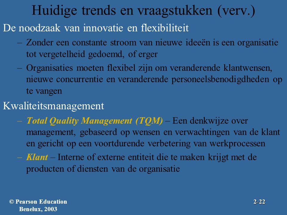 Huidige trends en vraagstukken (verv.) De noodzaak van innovatie en flexibiliteit –Zonder een constante stroom van nieuwe ideeën is een organisatie to