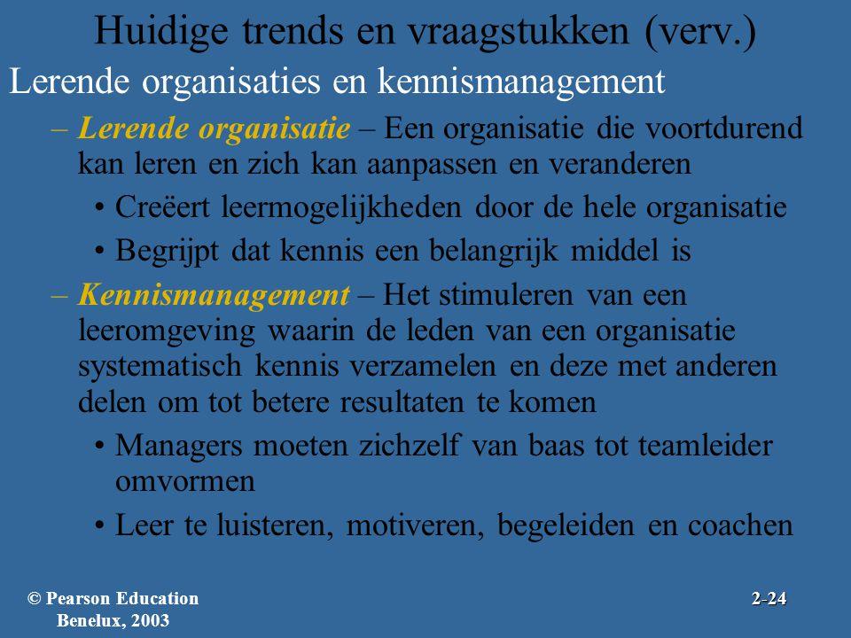 Huidige trends en vraagstukken (verv.) Lerende organisaties en kennismanagement –Lerende organisatie – Een organisatie die voortdurend kan leren en zi