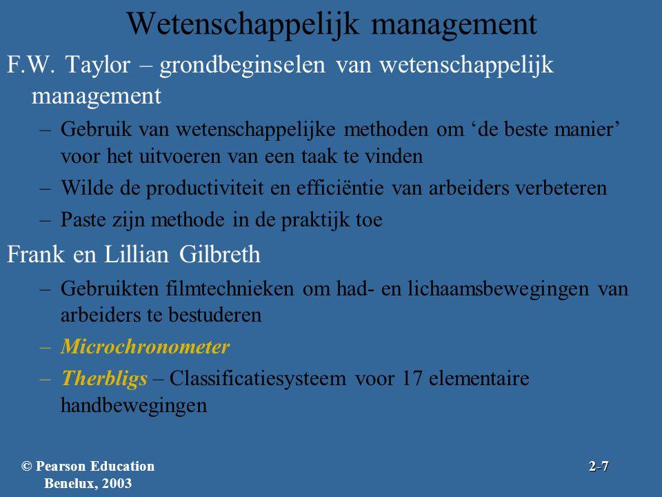 Wetenschappelijk management F.W. Taylor – grondbeginselen van wetenschappelijk management –Gebruik van wetenschappelijke methoden om 'de beste manier'