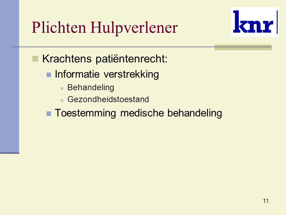 11 Plichten Hulpverlener Krachtens patiëntenrecht: Informatie verstrekking Behandeling Gezondheidstoestand Toestemming medische behandeling